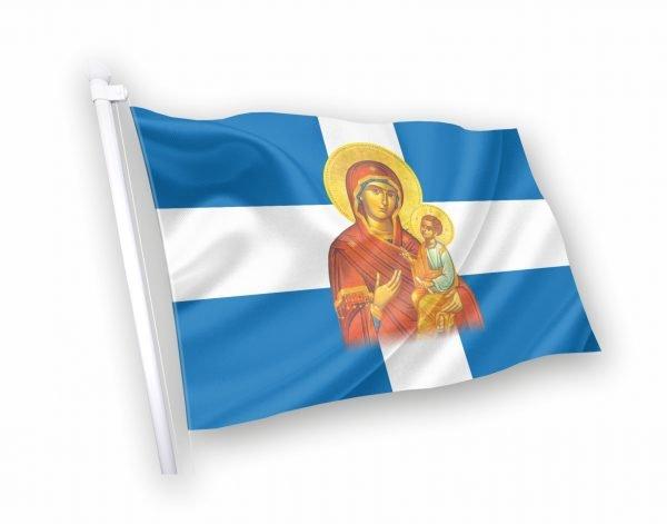 παναγια Σημαία με εικόνα αγίου κοκκωνης